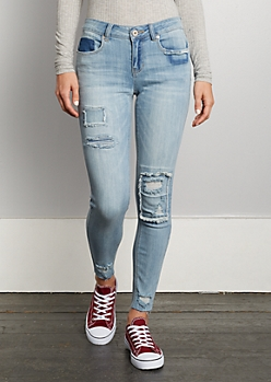 Patched Ankle Cut Jegging in Regular