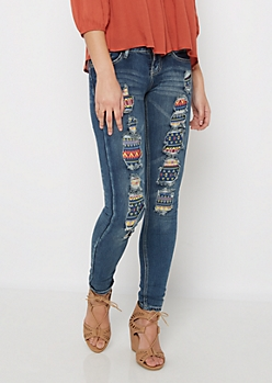 Aztec Patched Distressed Jegging