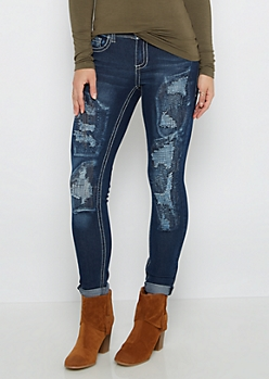 Stitched Frayed Patch Cropped Jegging
