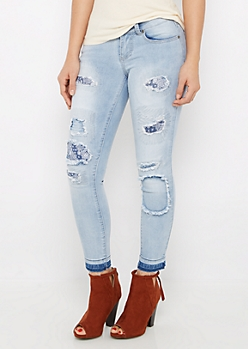 Ripped & Stitched Cropped Jean in Regular