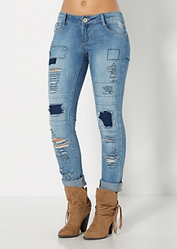 Ripped & Stitched Skinny Jean