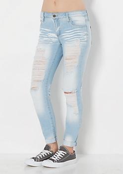 Ripped & Sandblasted Cuffed Skinny Jean