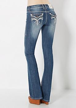 Handset Crystal Studded Slim Boot Jean