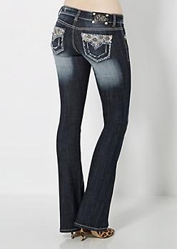 Sandblasted Embroidered Flowers Boot Jean