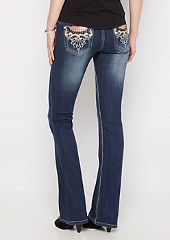Leather Swirl Slim Boot Jean
