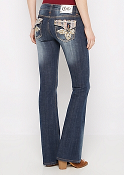 Crystal Flower Sandblasted Slim Boot Jean