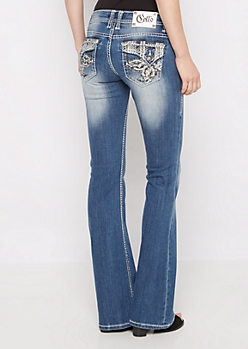 Crystal Patched Slim Boot Jean