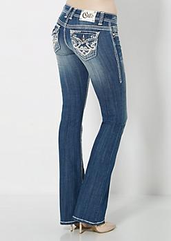 Sandblasted Leather Embellished Boot Jean