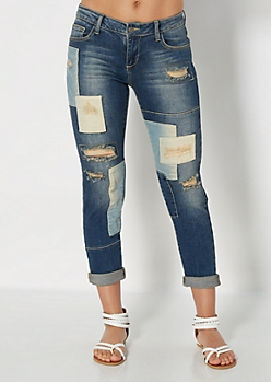 Patched & Blasted Slim Straight Crop Jean