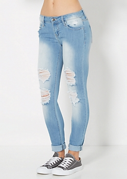 Ripped Rolled Cuff Washed Skinny Jean