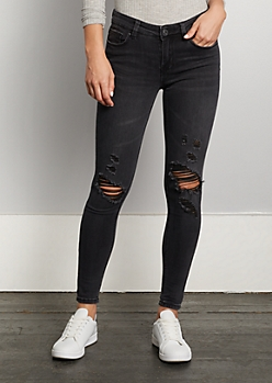 Black Washed & Distressed Jegging in Regular