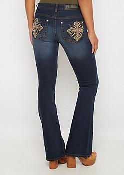 Cross Stone Embellished Boot Jean