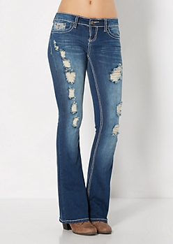 Distressed Handset Crystal Boot Jean