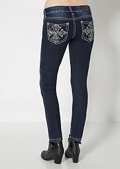 Stitched Cross Skinny Jean