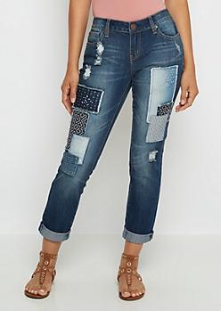 Flex Patchwork Cuffed Skinny Jean