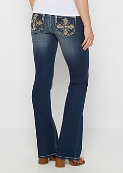 Cross Stone Embellished Slim Boot Jean in Curvy