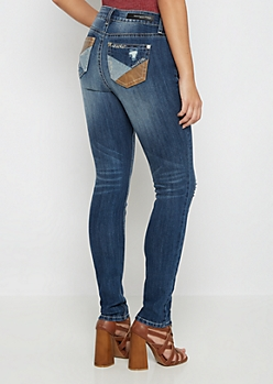 Flex Leather Patched High Waist Skinny Jean