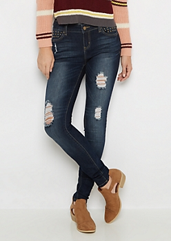 Flex Ripped & Studded Jegging