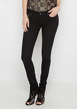 Black Sequined Yoke Skinny Jean