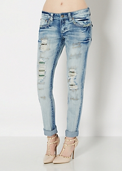 Medium Blue Destroyed Plaid Patched Skinny Jean
