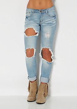 Light Blue Destroyed Skinny Jean