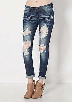 Vintage Destroyed Cuffed Skinny Jean