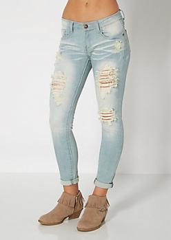 Light Ripped Rolled Cuff Skinny Jean