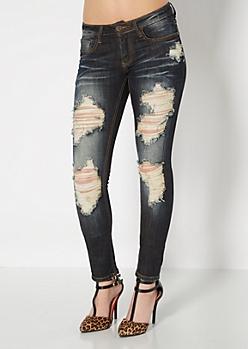 Dark Blue Destroyed Skinny Jean