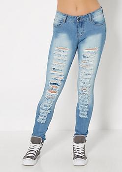 Vintage Wash Destroyed Skinny Jean