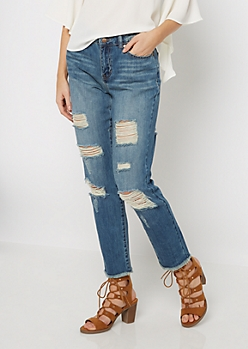 Medium Frayed & Shredded Cropped Jegging