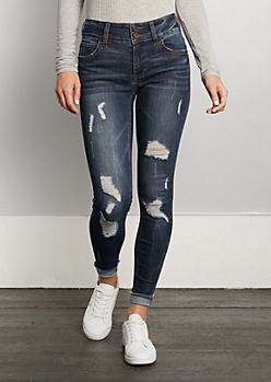 Dark Blue Destroyed & Cuffed Ankle Jegging