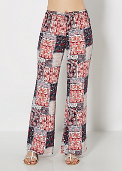 Retro Patchwork Smocked Soft Pant