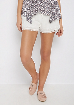 White Eyelet Floral Crochet Short