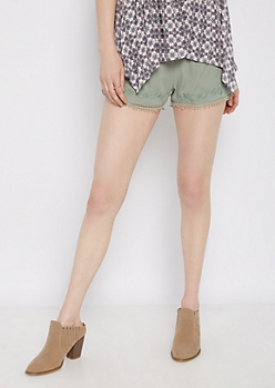 Light Green Eyelet Floral Crochet Short