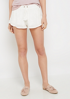 Aztec Embroidered Gauze Short