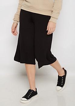 Black Knit Gaucho Pants