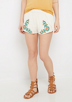 Ivory Embroidered Tulip Short