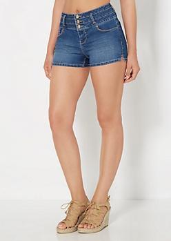Medium Blue High Waist Jean Short in Curvy