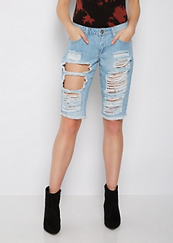 Light Blue Destroyed Bermuda Short