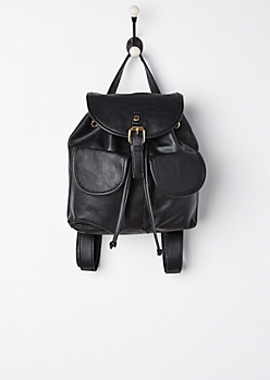 Black Double Pocket Mini Backpack