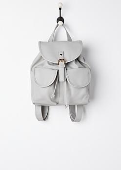 Gray Double Pocket Mini Backpack