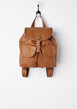 Cognac Double Pocket Mini Backpack