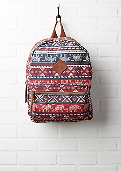 Burgundy Elephant Aztec Canvas Backpack