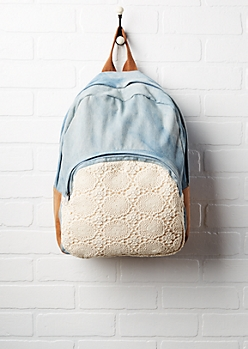 Crochet Pocket Washed Denim Backpack