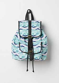 Mint Tribal Elephant Backpack