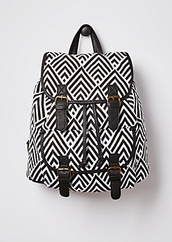Chevron Double Buckled Mini Backpack