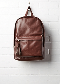 Brown Faux Leather Tassel Zip Backpack