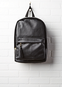 Black Faux Leather Tassel Zip Backpack