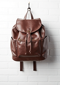 Brown Faux Leather Bucket Backpack