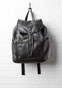 Black Faux Leather Bucket Backpack